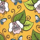 Sömlös utsmyckad blom- modell med fjärilar Arkivfoton