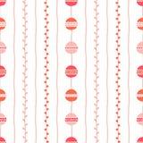 Sömlös vårvektormodell Röda rosa vertikala linjer, cirklar och ris på vit bakgrund Hand dragen abstrakt filialillustr Royaltyfri Bild