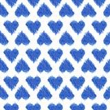 Sömlös vattenfärg för ikat för modellblåtthjärta på vit bakgrund Royaltyfri Foto