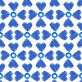 Sömlös vattenfärg för modellblåttikat på vit bakgrund Royaltyfri Fotografi