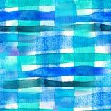 Sömlös vattenfärg gjort randig tryck, blå teckning i en bur Royaltyfri Bild
