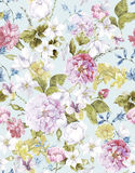 Sömlös vattenfärgbakgrund för blom- tappning royaltyfri illustrationer