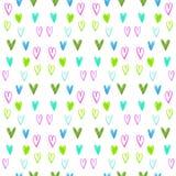 Sömlös vattenfärghjärtamodell på en vit bakgrund Hjärta för två rosa färg Royaltyfri Bild