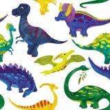 Sömlös vattenfärgillustration av dinosaurier stock illustrationer