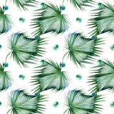 Sömlös vattenfärgillustration av tropiska sidor, tät djungel royaltyfri illustrationer