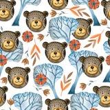 Sömlös vattenfärgmodell av sagolika björnar i skogen vektor illustrationer