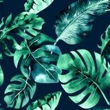 Sömlös vattenfärgmodell av tropiska sidor, tät djungel Mummel royaltyfri illustrationer