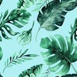 Sömlös vattenfärgmodell av tropiska sidor, tät djungel Mummel Royaltyfri Fotografi