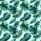 Sömlös vattenfärgmodell av tropiska sidor, tät djungel Mummel Arkivfoton