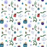 Sömlös vattenfärgmodell för feriedekor med julträd vektor illustrationer