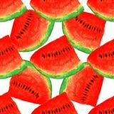 Sömlös vattenfärgmodell för vattenmelon, saftigt stycke, sommarsammansättning av röda skivor av vattenmelon handiwork För dig pla Royaltyfri Bild