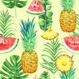 Sömlös vattenfärgmodell med ananors, vattenmelon och tropiska sidor på citronbakgrund Tropisk vattenfärgillustration royaltyfri illustrationer