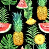 Sömlös vattenfärgmodell med ananors, vattenmelon och tropiska sidor på svart bakgrund royaltyfri illustrationer