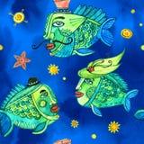 Sömlös vattenfärgmodell med fiskar Royaltyfri Fotografi