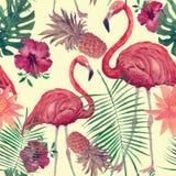 Sömlös vattenfärgmodell med flamingo, sidor, blommor Hanad dragen vektor Royaltyfri Bild