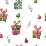 Sömlös vattenfärgmodell med julgåvor Xmas-garnering för inpackning stock illustrationer