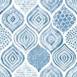 Sömlös vattenfärgmodell Tappningblått- och vitprydnad te royaltyfri illustrationer