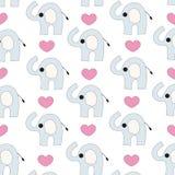 Sömlös vektor för elefant och för hjärtor Fotografering för Bildbyråer