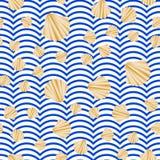Sömlös vektor med guld- textur för abstrakt skal på blått- och vitband guld- tappning för bakgrund Royaltyfria Bilder