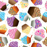 Sömlös vektorbakgrund av muffin med kräm Royaltyfri Foto
