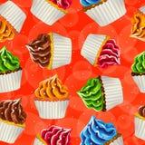 Sömlös vektorbakgrund av muffin med kräm Royaltyfri Fotografi