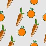 Sömlös vektorbakgrund för apelsin och för morot Arkivbilder