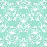 Sömlös vektorbakgrund för elegant damast mintkaramell med delikat virvel Royaltyfri Fotografi