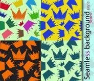 Sömlös vektorbakgrund för en bakgrund som packar krönar Royaltyfri Bild