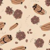 Sömlös vektorbakgrund för kanel och för anis Kryddor för kaffe vektor illustrationer