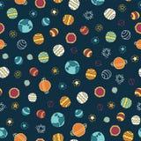 Sömlös vektorbakgrund för planeter och för stjärnor Design för klotterutrymmegalax Rött apelsin, gult som är blå på ett mörkt - b royaltyfri illustrationer