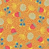 Sömlös vektorbakgrund för skandinaviska blommor 60-tal för nedgånghöst för 70-tal retro blom- modell Gult, rött och blått klotter stock illustrationer