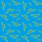 Sömlös vektorbakgrund med designbeståndsdelar: halloween pumpa och titel på blå bakgrund Royaltyfri Fotografi