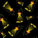 Sömlös vektorbakgrund med designbeståndsdelar: halloween pumpalampor och svart katt på svart bakgrund Royaltyfri Bild