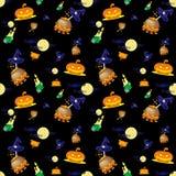 Sömlös vektorbakgrund med designbeståndsdelar: halloween pumpor, stearinljus, kittel och måne på svart bakgrund Royaltyfria Bilder