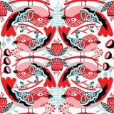 Sömlös vektorfågelmodell med skuggor av röda färger stock illustrationer