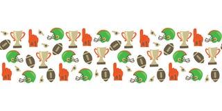 Sömlös vektorgräns för amerikansk fotboll Hjälm trofé, skumfinger, fotboll Bakgrund för Super Bowltappningstil För baklucka royaltyfri illustrationer