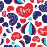 Sömlös vektorhjärtamodell med röda & blåa skuggor av färger stock illustrationer