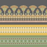 Sömlös vektorillustration av den egyptiska nationella prydnaden med en lotusblommablomma royaltyfri illustrationer