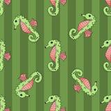 Sömlös vektorillustration för Seahorse Arkivbild