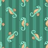 Sömlös vektorillustration för Seahorse Royaltyfria Bilder