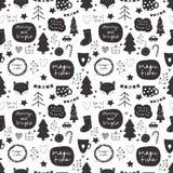 Sömlös vektorjulmodell i svartvit färgpalett med dekorativa beståndsdelar för ferie inklusive stjärnor, jultre royaltyfri illustrationer