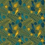 Sömlös vektorklottermodell med papegojor, sidor och blommor royaltyfri illustrationer