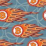 Sömlös vektormodell av crypto valutasymboler och flammor för digital bitcoin vektor illustrationer