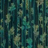 Sömlös vektormodell av högväxta träd med sidor och raksträckastammar Royaltyfri Fotografi