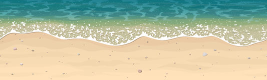 Sömlös vektormodell av havssandstranden royaltyfri illustrationer
