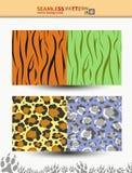 Sömlös vektormodell av tigern och leoparden för bakgrunder, omslag Arkivfoto