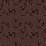 Sömlös vektormodell, bakgrund för mörk brunt med kaffe Royaltyfri Foto