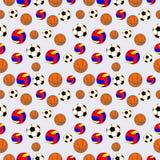 Sömlös vektormodell, bakgrund med beståndsdelar av färgrika bollar för fotboll, volleyboll och fotboll Arkivfoto