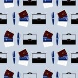 Sömlös vektormodell, bakgrund med resväskan, plånbok Royaltyfria Foton
