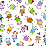 Sömlös vektormodell - det färgrika folket i barn` s utformar Royaltyfria Bilder